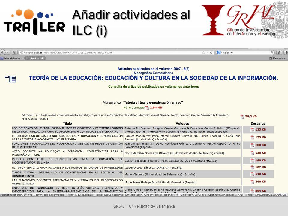 Añadir actividades al ILC (i) GRIAL – Universidad de Salamanca