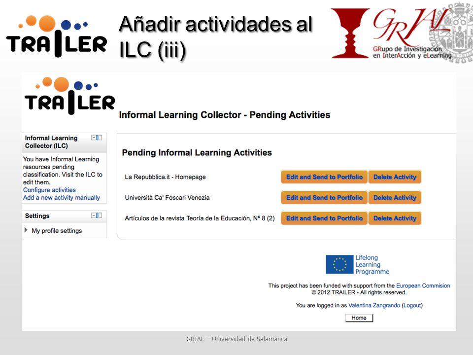 Añadir actividades al ILC (iii) GRIAL – Universidad de Salamanca