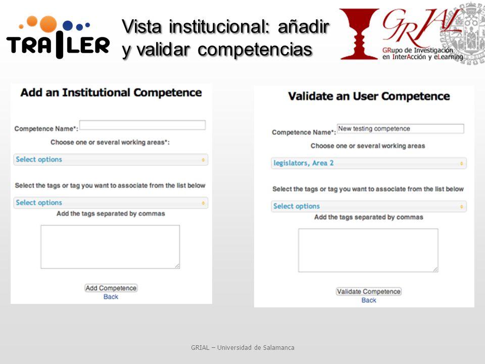 Vista institucional: añadir y validar competencias GRIAL – Universidad de Salamanca