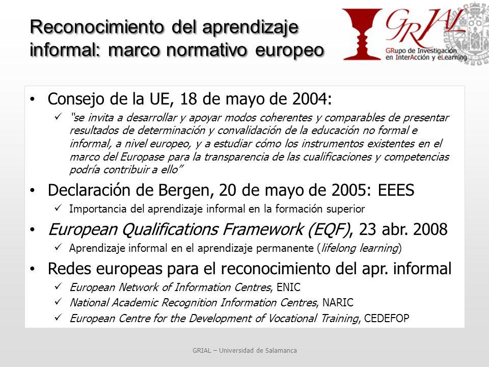 Reconocimiento del aprendizaje informal: marco normativo europeo Consejo de la UE, 18 de mayo de 2004: se invita a desarrollar y apoyar modos coherentes y comparables de presentar resultados de determinación y convalidación de la educación no formal e informal, a nivel europeo, y a estudiar cómo los instrumentos existentes en el marco del Europase para la transparencia de las cualificaciones y competencias podría contribuir a ello Declaración de Bergen, 20 de mayo de 2005: EEES Importancia del aprendizaje informal en la formación superior European Qualifications Framework (EQF), 23 abr.