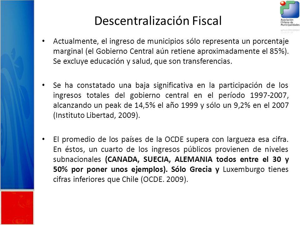 Descentralización Fiscal Actualmente, el ingreso de municipios sólo representa un porcentaje marginal (el Gobierno Central aún retiene aproximadamente el 85%).