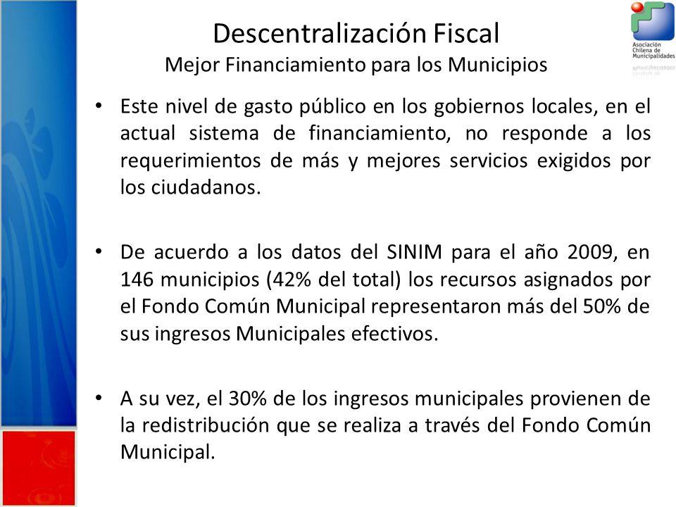 Descentralización Fiscal Mejor Financiamiento para los Municipios Este nivel de gasto público en los gobiernos locales, en el actual sistema de financiamiento, no responde a los requerimientos de más y mejores servicios exigidos por los ciudadanos.