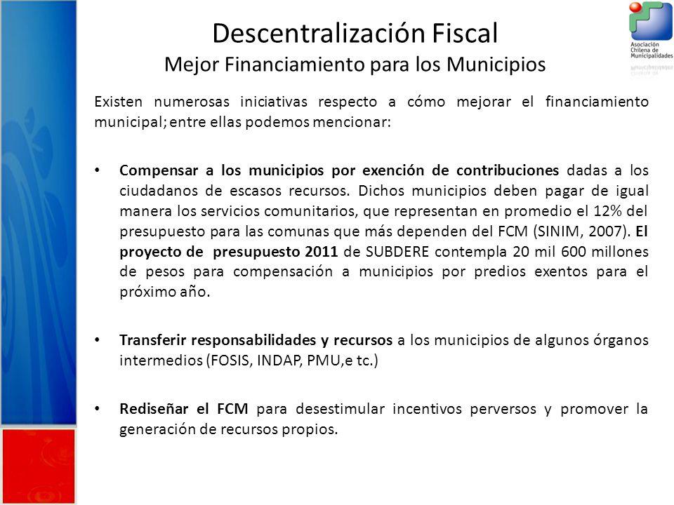 Descentralización Fiscal Mejor Financiamiento para los Municipios Existen numerosas iniciativas respecto a cómo mejorar el financiamiento municipal; entre ellas podemos mencionar: Compensar a los municipios por exención de contribuciones dadas a los ciudadanos de escasos recursos.