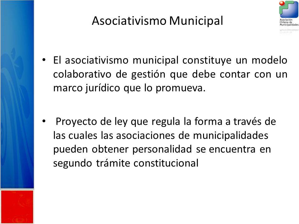 Asociativismo Municipal El asociativismo municipal constituye un modelo colaborativo de gestión que debe contar con un marco jurídico que lo promueva.