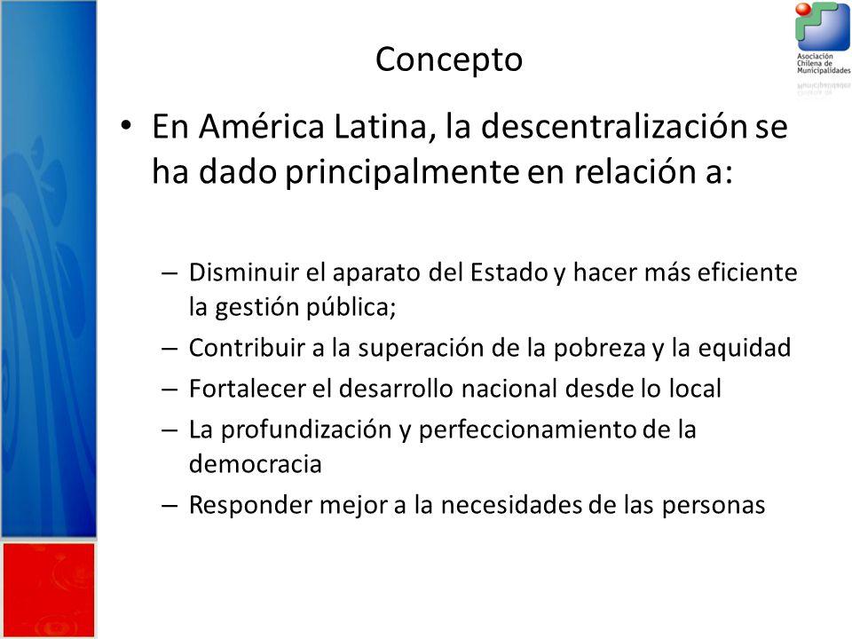 En América Latina, la descentralización se ha dado principalmente en relación a: – Disminuir el aparato del Estado y hacer más eficiente la gestión pública; – Contribuir a la superación de la pobreza y la equidad – Fortalecer el desarrollo nacional desde lo local – La profundización y perfeccionamiento de la democracia – Responder mejor a la necesidades de las personas Concepto