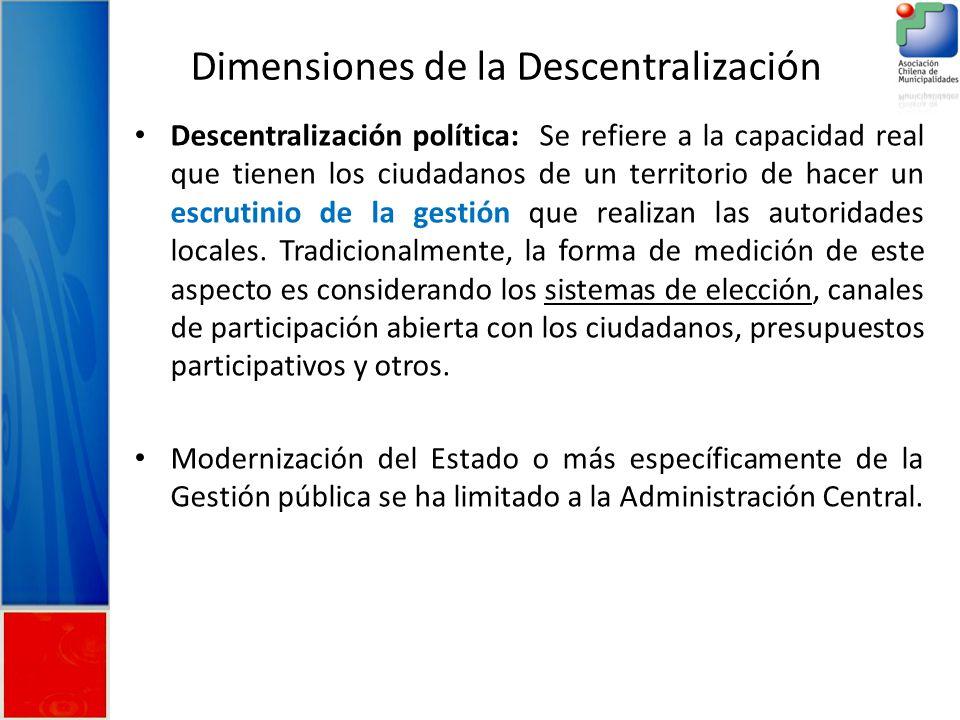 Dimensiones de la Descentralización Descentralización política: Se refiere a la capacidad real que tienen los ciudadanos de un territorio de hacer un escrutinio de la gestión que realizan las autoridades locales.