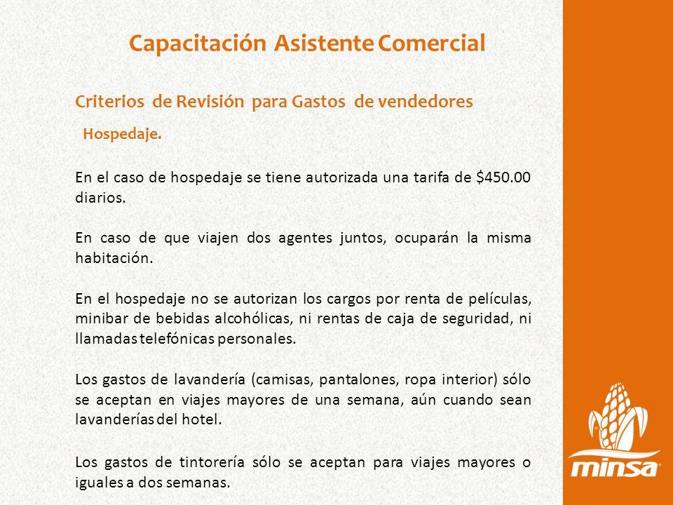 Capacitación Asistente Comercial Criterios de Revisión para Gastos de vendedores Hospedaje.