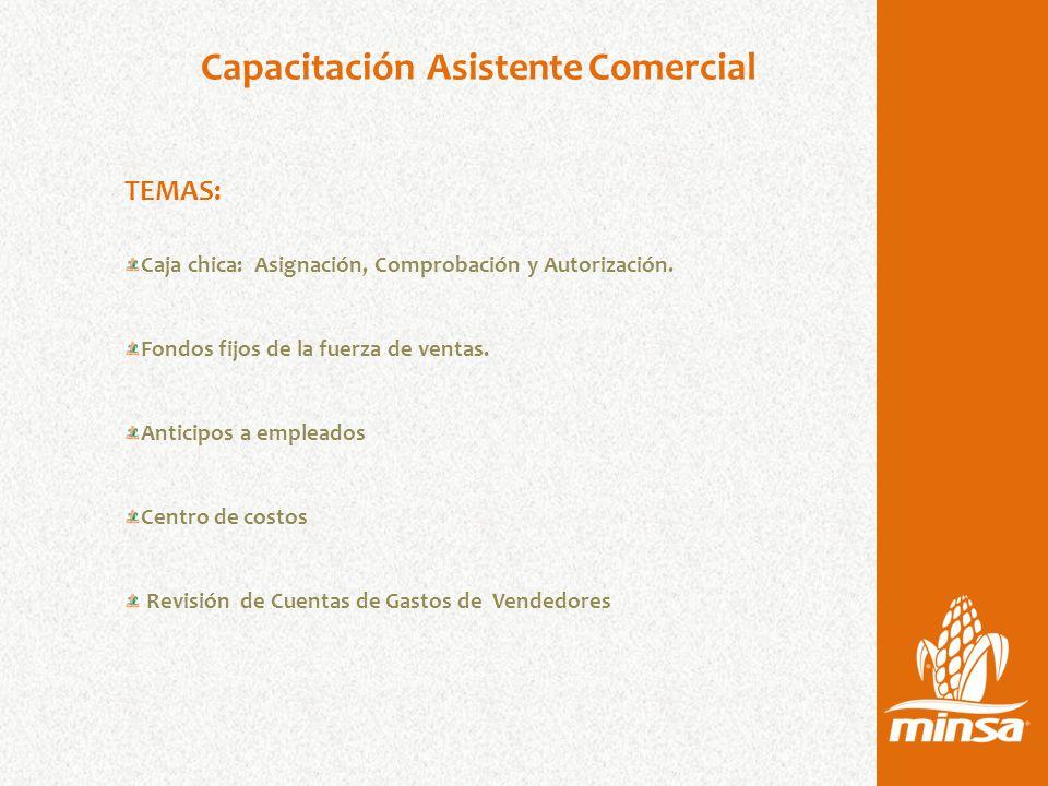 Capacitación Asistente Comercial TEMAS: Caja chica: Asignación, Comprobación y Autorización.