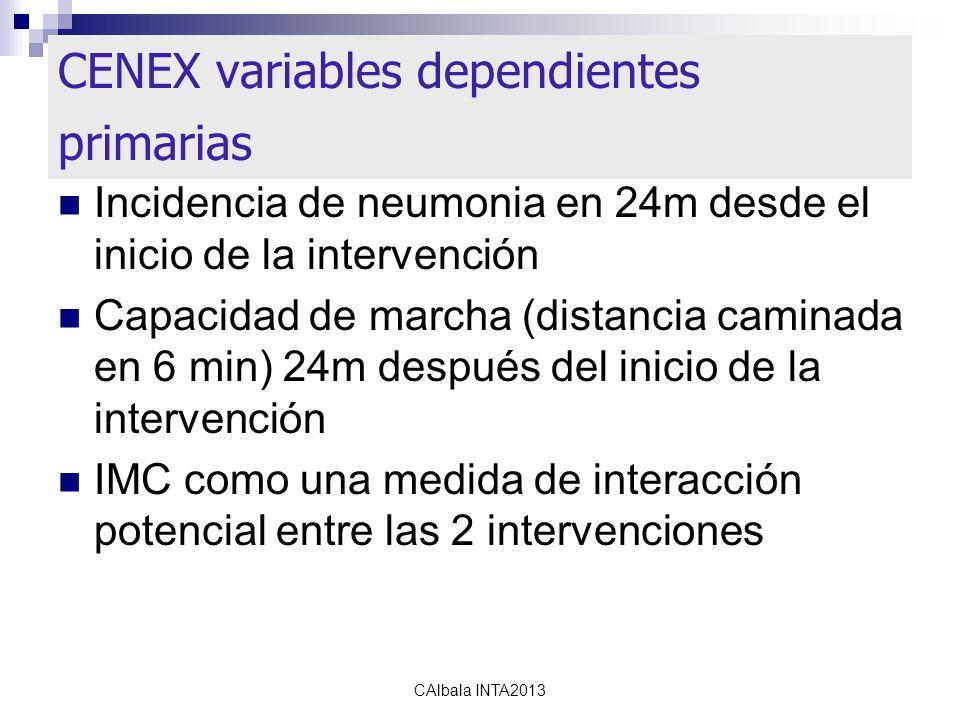 calbala2010 CENEX variables dependientes primarias Incidencia de neumonia en 24m desde el inicio de la intervención Capacidad de marcha (distancia caminada en 6 min) 24m después del inicio de la intervención IMC como una medida de interacción potencial entre las 2 intervenciones CAlbala INTA2013