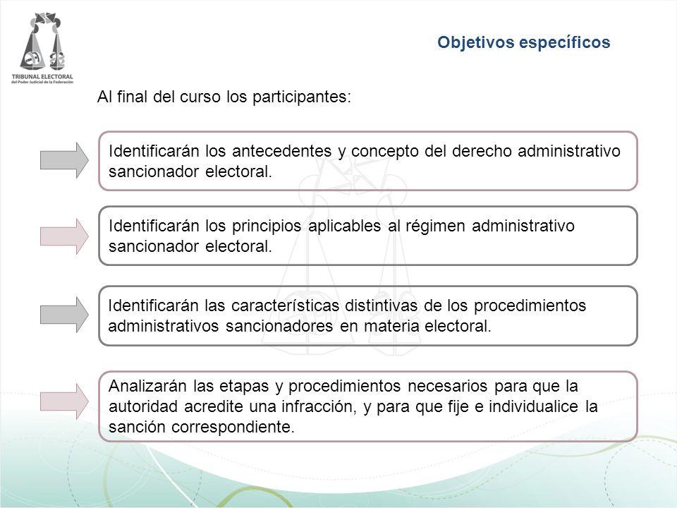 Al final del curso los participantes: Objetivos específicos Identificarán los antecedentes y concepto del derecho administrativo sancionador electoral.