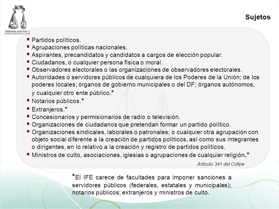 Sujetos * El IFE carece de facultades para imponer sanciones a servidores públicos (federales, estatales y municipales); notarios públicos; extranjeros y ministros de culto.