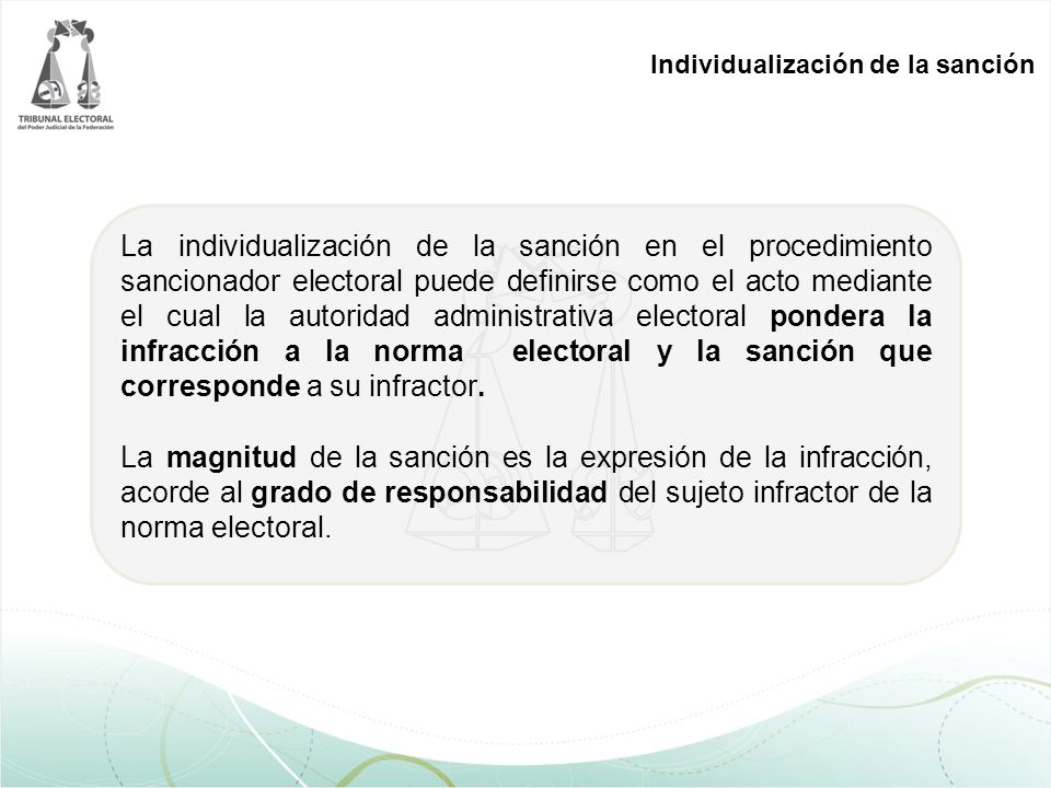 Individualización de la sanción La individualización de la sanción en el procedimiento sancionador electoral puede definirse como el acto mediante el cual la autoridad administrativa electoral pondera la infracción a la norma electoral y la sanción que corresponde a su infractor.