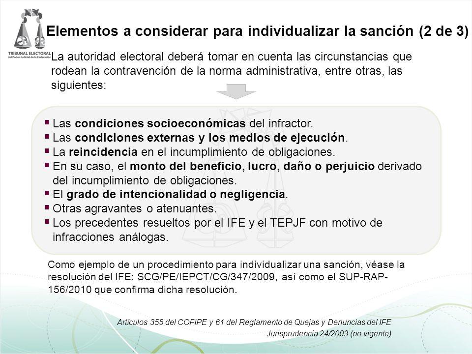 La autoridad electoral deberá tomar en cuenta las circunstancias que rodean la contravención de la norma administrativa, entre otras, las siguientes: Elementos a considerar para individualizar la sanción (2 de 3)  Las condiciones socioeconómicas del infractor.