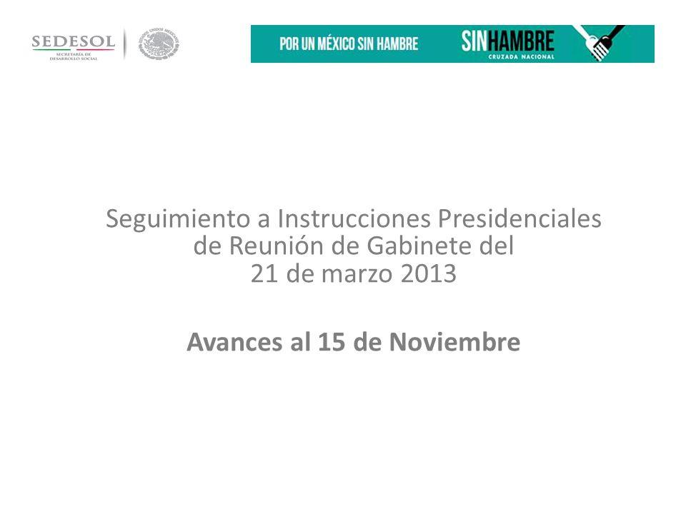 Seguimiento a Instrucciones Presidenciales de Reunión de Gabinete del 21 de marzo 2013 Avances al 15 de Noviembre