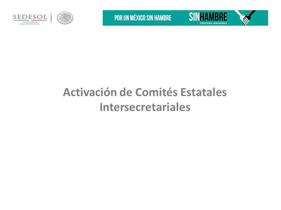 Activación de Comités Estatales Intersecretariales