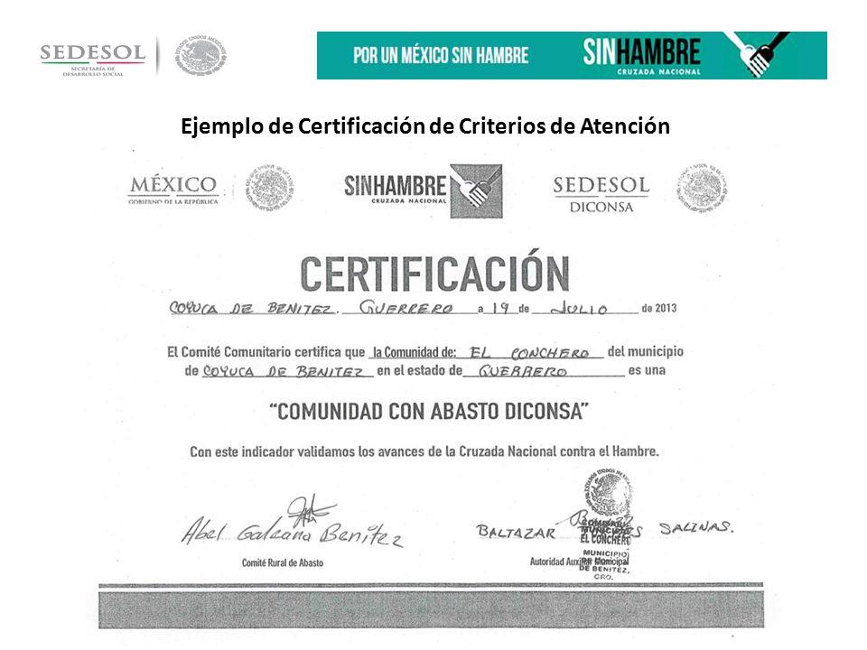 Ejemplo de Certificación de Criterios de Atención