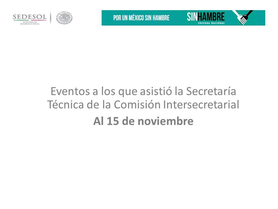 Eventos a los que asistió la Secretaría Técnica de la Comisión Intersecretarial Al 15 de noviembre