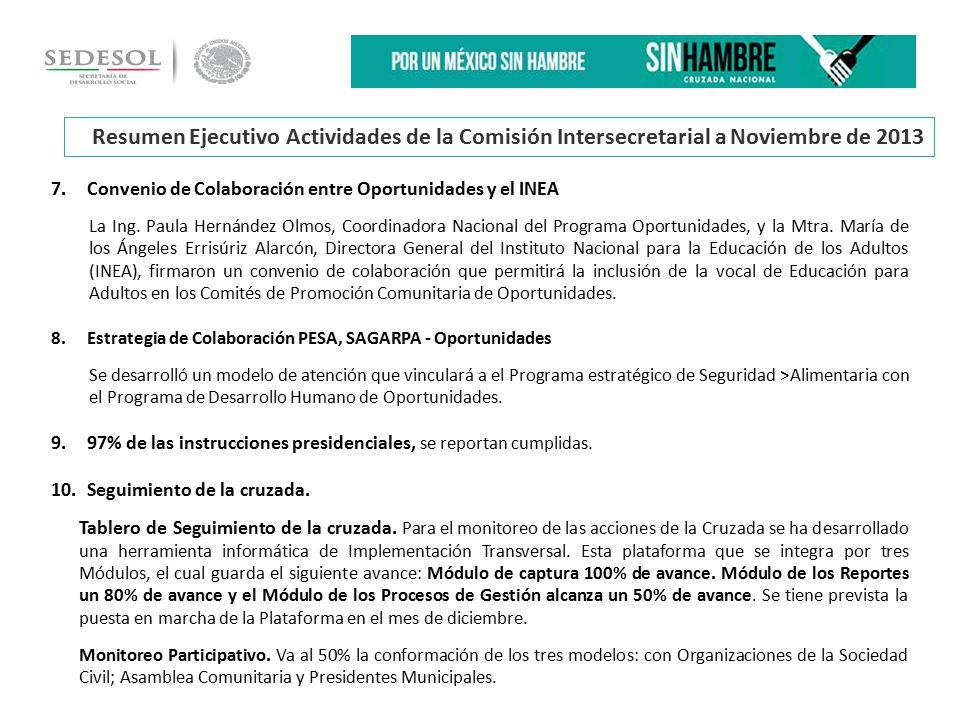 7.Convenio de Colaboración entre Oportunidades y el INEA La Ing.