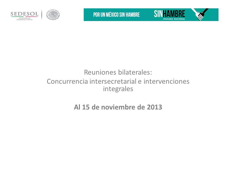 Reuniones bilaterales: Concurrencia intersecretarial e intervenciones integrales Al 15 de noviembre de 2013