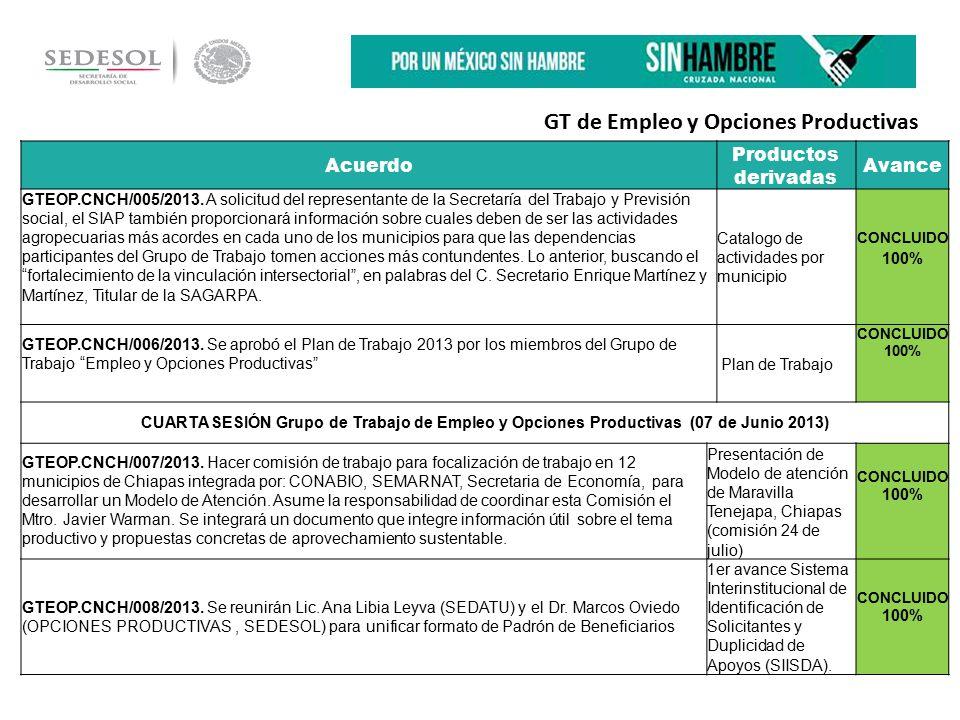 Acuerdo Productos derivadas Avance GTEOP.CNCH/005/2013.