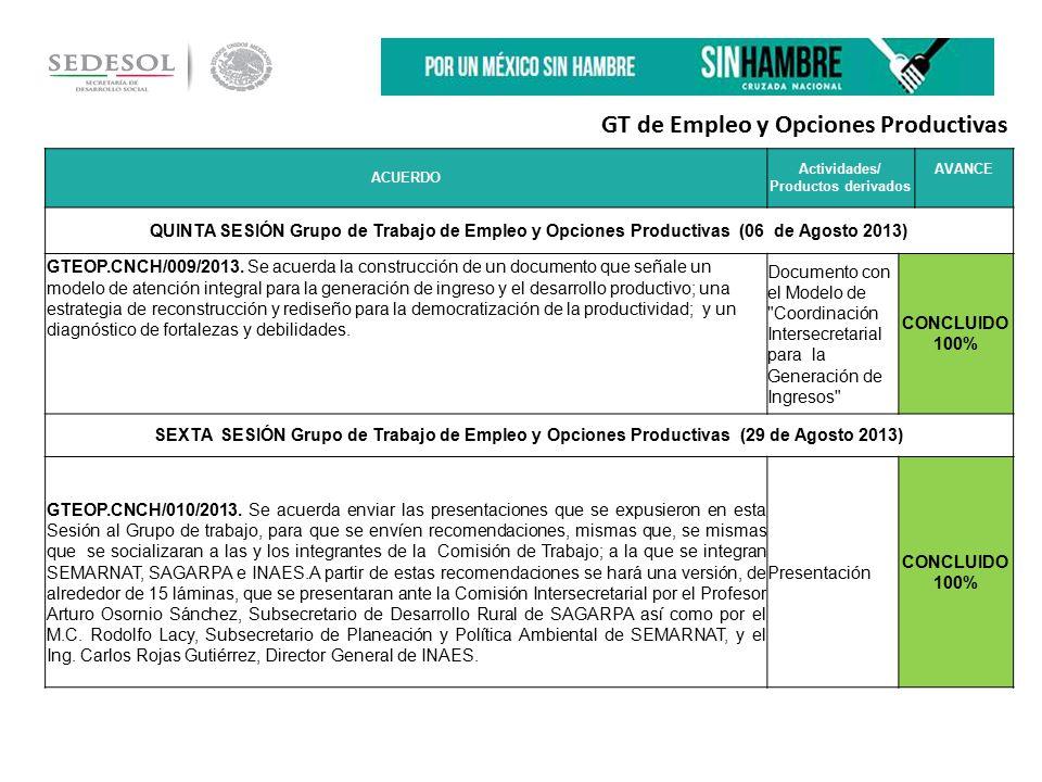 ACUERDO Actividades/ Productos derivados AVANCE QUINTA SESIÓN Grupo de Trabajo de Empleo y Opciones Productivas (06 de Agosto 2013) GTEOP.CNCH/009/2013.