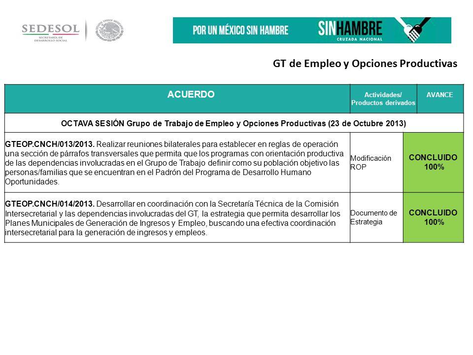 ACUEACUERDO RDO Actividades/ Productos derivados AVANCE OCTAVA SESIÓN Grupo de Trabajo de Empleo y Opciones Productivas (23 de Octubre 2013) GTEOP.CNCH/013/2013.