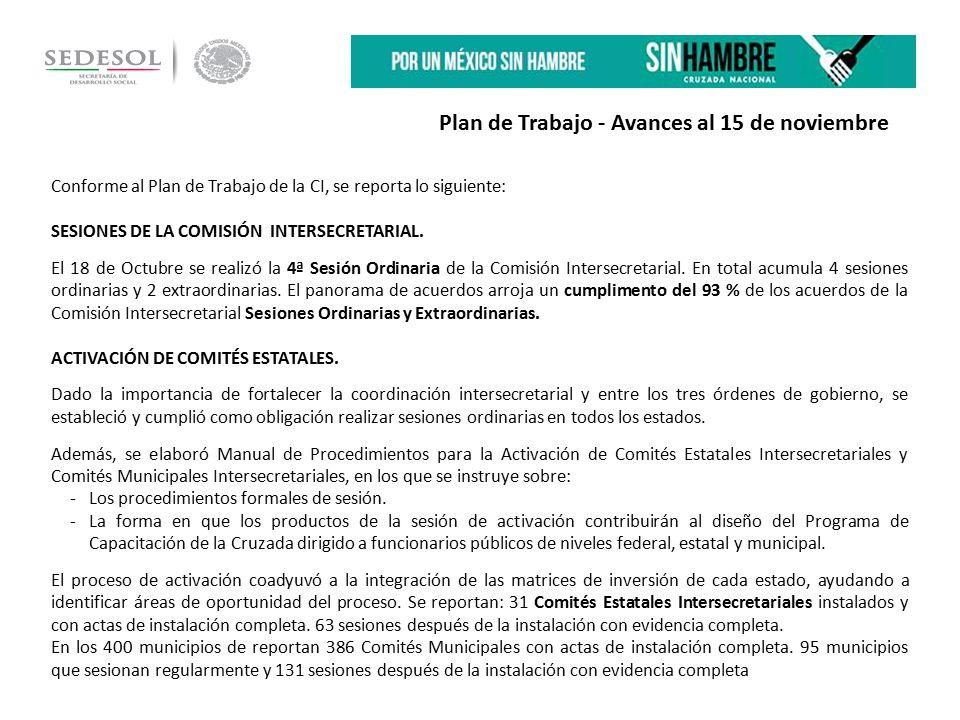 Conforme al Plan de Trabajo de la CI, se reporta lo siguiente: SESIONES DE LA COMISIÓN INTERSECRETARIAL.