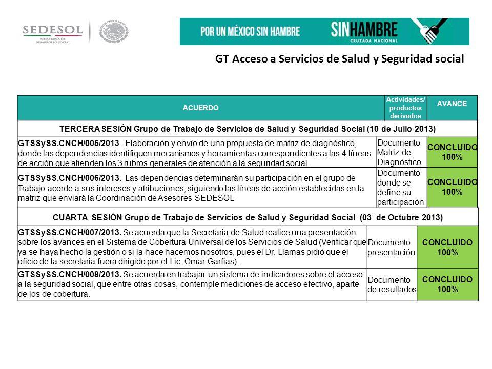 GT Acceso a Servicios de Salud y Seguridad social ACUERDO Actividades/ productos derivados AVANCE TERCERA SESIÓN Grupo de Trabajo de Servicios de Salud y Seguridad Social (10 de Julio 2013) GTSSySS.CNCH/005/2013.