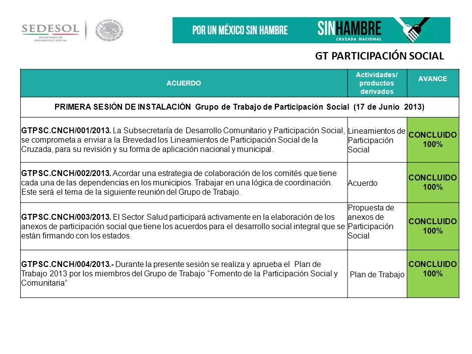 ACUERDO Actividades/ productos derivados AVANCE PRIMERA SESIÓN DE INSTALACIÓN Grupo de Trabajo de Participación Social (17 de Junio 2013) GTPSC.CNCH/001/2013.