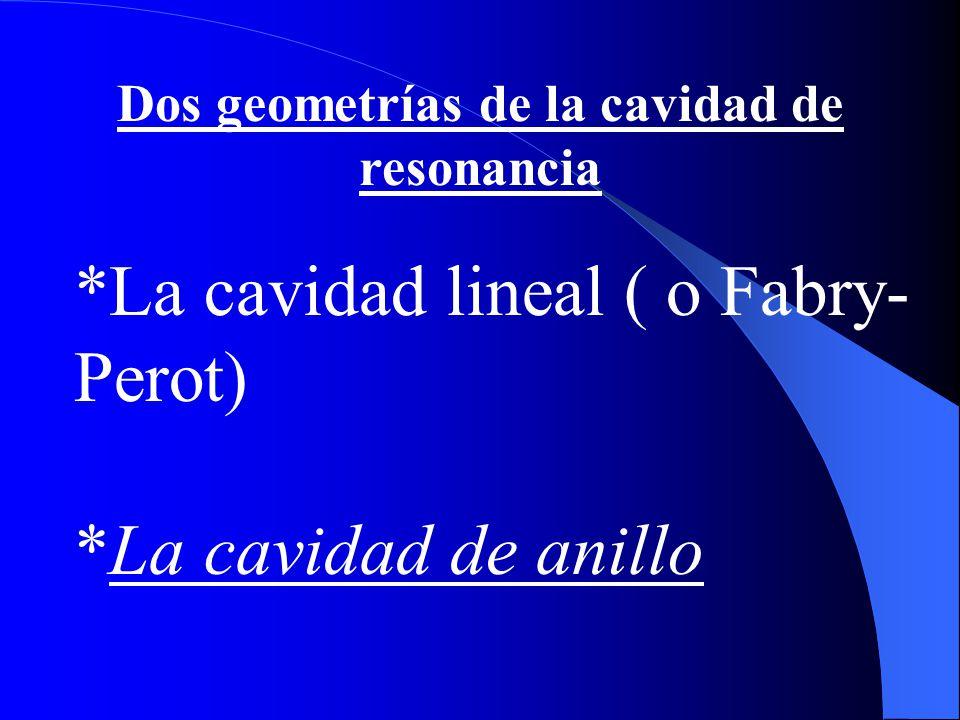 Dos geometrías de la cavidad de resonancia *La cavidad lineal ( o Fabry- Perot) *La cavidad de anillo