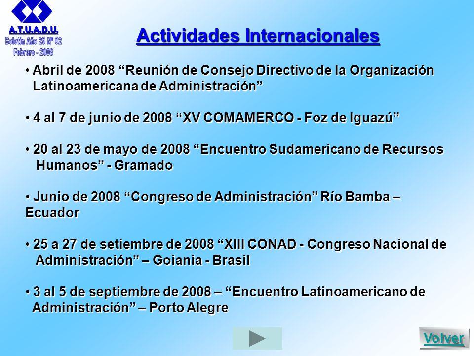 Actividades Internacionales Abril de 2008 Reunión de Consejo Directivo de la Organización Abril de 2008 Reunión de Consejo Directivo de la Organización Latinoamericana de Administración Latinoamericana de Administración 4 al 7 de junio de 2008 XV COMAMERCO - Foz de Iguazú 4 al 7 de junio de 2008 XV COMAMERCO - Foz de Iguazú 20 al 23 de mayo de 2008 Encuentro Sudamericano de Recursos 20 al 23 de mayo de 2008 Encuentro Sudamericano de Recursos Humanos - Gramado Humanos - Gramado Junio de 2008 Congreso de Administración Río Bamba – Ecuador Junio de 2008 Congreso de Administración Río Bamba – Ecuador 25 a 27 de setiembre de 2008 XIII CONAD - Congreso Nacional de 25 a 27 de setiembre de 2008 XIII CONAD - Congreso Nacional de Administración – Goiania - Brasil Administración – Goiania - Brasil 3 al 5 de septiembre de 2008 – Encuentro Latinoamericano de 3 al 5 de septiembre de 2008 – Encuentro Latinoamericano de Administración – Porto Alegre Administración – Porto Alegre A.T.U.A.D.U.