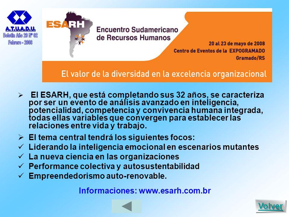  El ESARH, que está completando sus 32 años, se caracteriza por ser un evento de análisis avanzado en inteligencia, potencialidad, competencia y convivencia humana integrada, todas ellas variables que convergen para establecer las relaciones entre vida y trabajo.