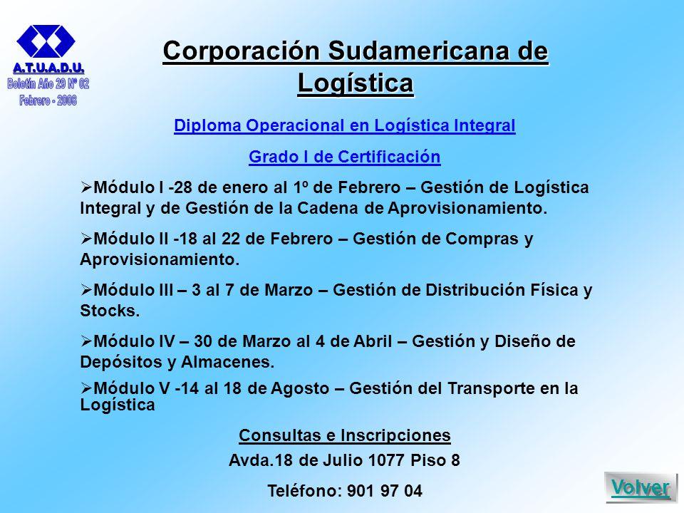 Corporación Sudamericana de Logística Diploma Operacional en Logística Integral Grado I de Certificación  Módulo I -28 de enero al 1º de Febrero – Gestión de Logística Integral y de Gestión de la Cadena de Aprovisionamiento.
