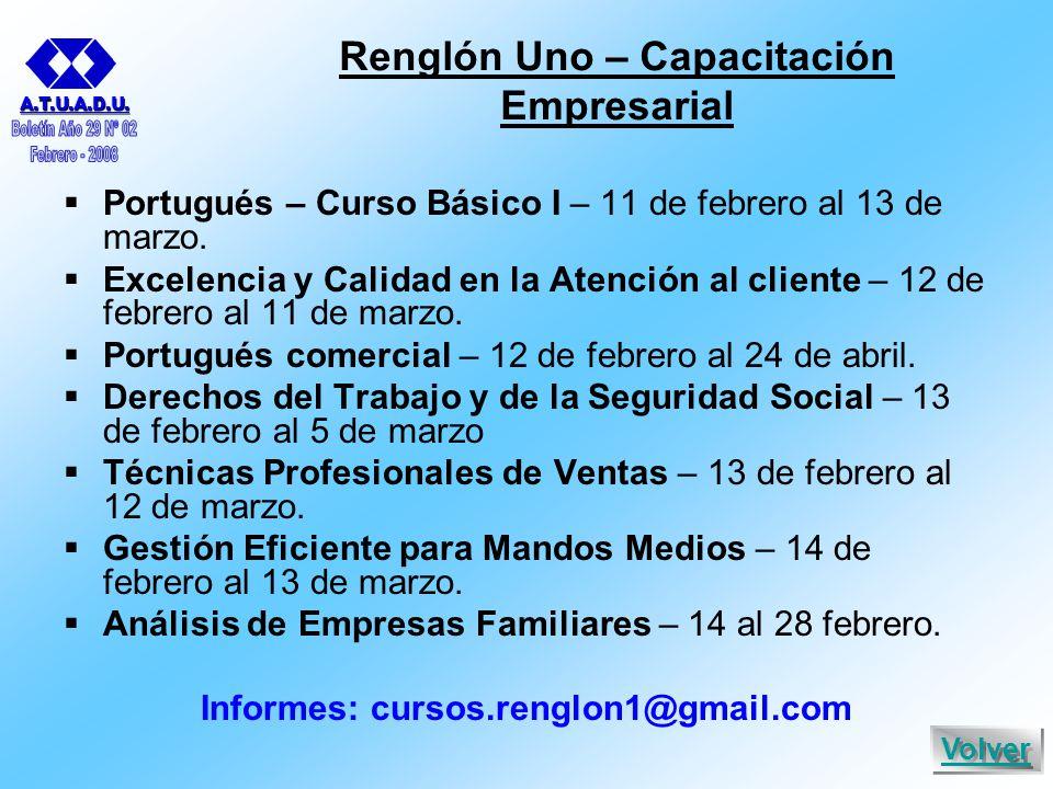 Renglón Uno – Capacitación Empresarial  Portugués – Curso Básico I – 11 de febrero al 13 de marzo.