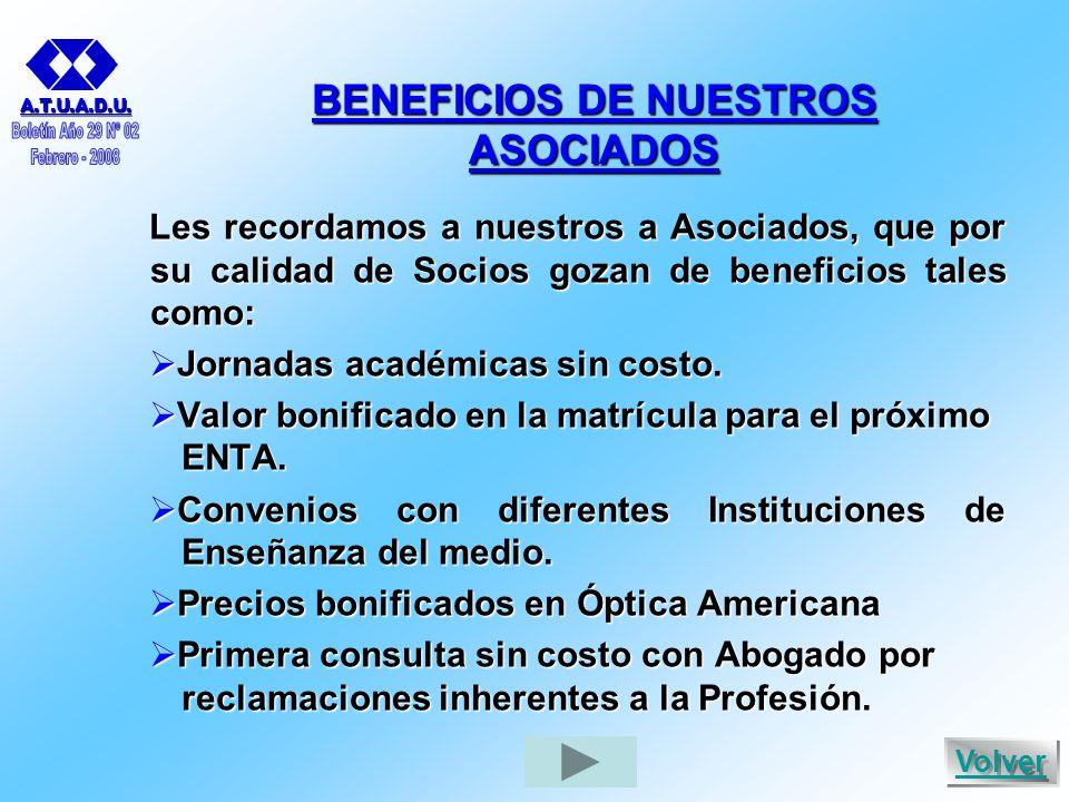 BENEFICIOS DE NUESTROS ASOCIADOS Les recordamos a nuestros a Asociados, que por su calidad de Socios gozan de beneficios tales como:  Jornadas académicas sin costo.