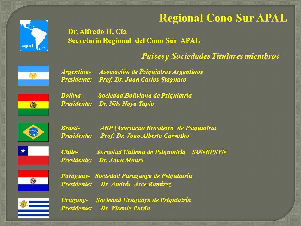 Regional Cono Sur APAL Argentina- Asociación de Psiquiatras Argentinos Presidente: Prof.