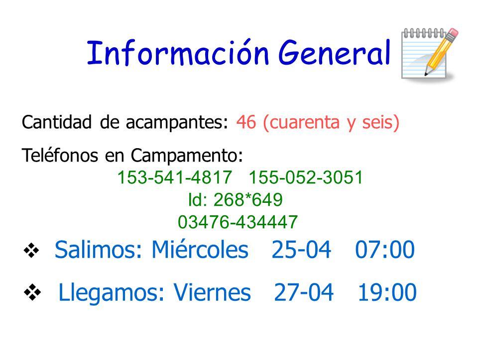 Información General  Salimos: Miércoles 25-04 07:00  Llegamos: Viernes 27-04 19:00 Cantidad de acampantes: 46 (cuarenta y seis) Teléfonos en Campamento: 153-541-4817 155-052-3051 Id: 268*649 03476-434447