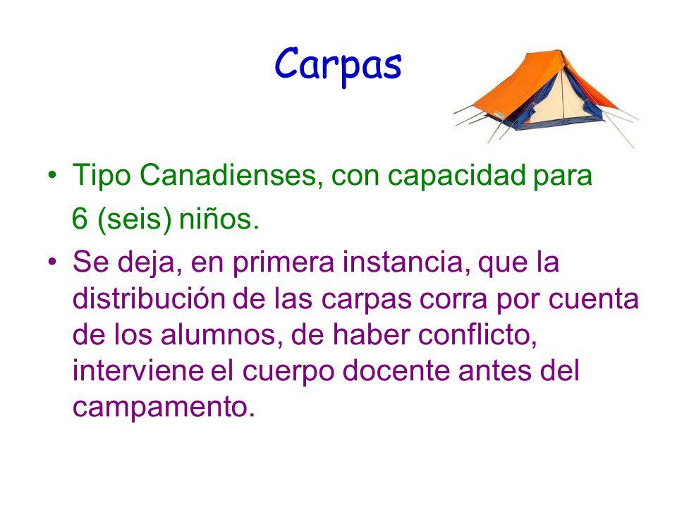 Carpas Tipo Canadienses, con capacidad para 6 (seis) niños.