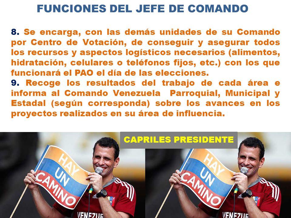 CAPRILES PRESIDENTE FUNCIONES DEL JEFE DE COMANDO 8.