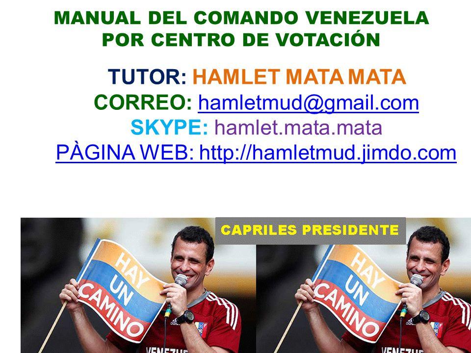 MANUAL DEL COMANDO VENEZUELA POR CENTRO DE VOTACIÓN TUTOR: HAMLET MATA MATA CORREO: hamletmud@gmail.comhamletmud@gmail.com SKYPE: hamlet.mata.mata PÀGINA WEB: http://hamletmud.jimdo.com