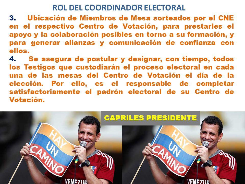 CAPRILES PRESIDENTE ROL DEL COORDINADOR ELECTORAL 3.