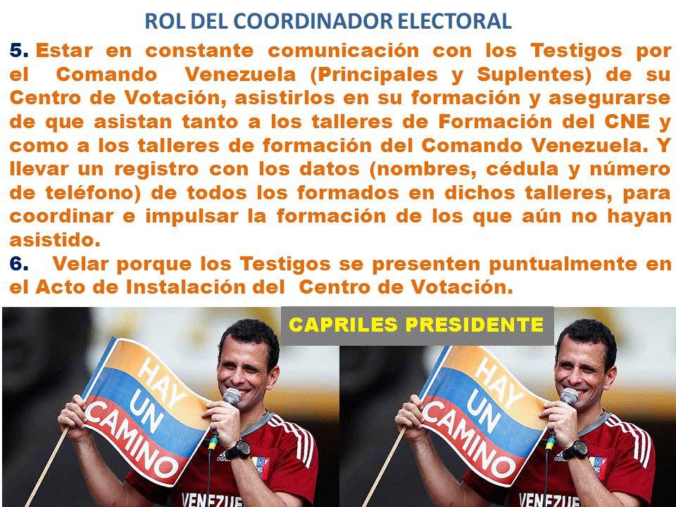 ROL DEL COORDINADOR ELECTORAL 5.