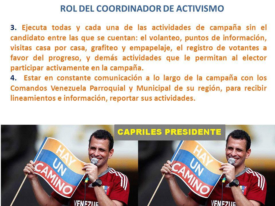 ROL DEL COORDINADOR DE ACTIVISMO 3.