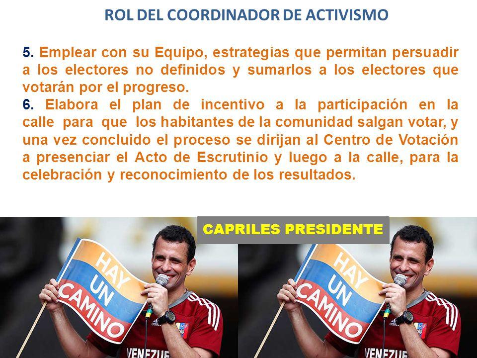 CAPRILES PRESIDENTE ROL DEL COORDINADOR DE ACTIVISMO 5.