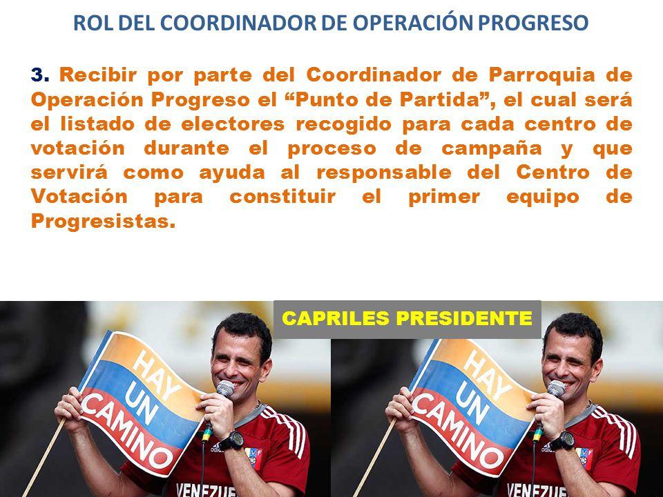 CAPRILES PRESIDENTE ROL DEL COORDINADOR DE OPERACIÓN PROGRESO 3.