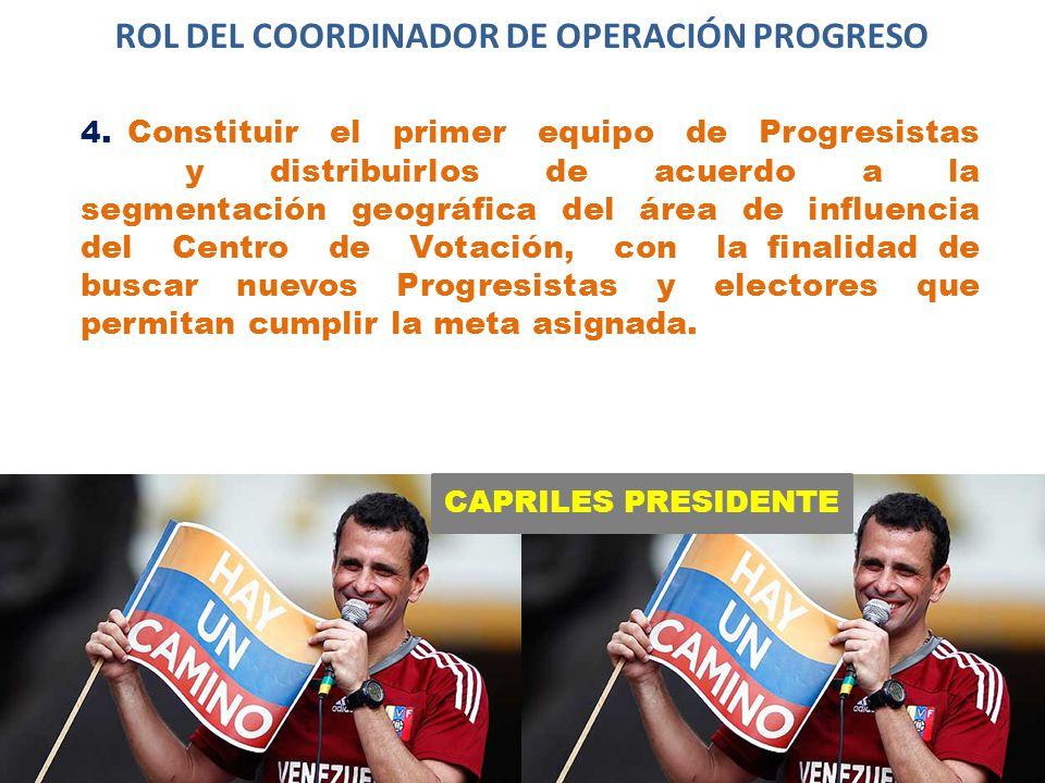 CAPRILES PRESIDENTE ROL DEL COORDINADOR DE OPERACIÓN PROGRESO 4.