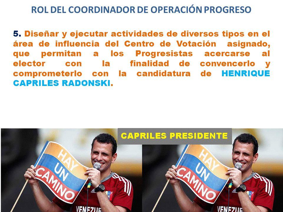 ROL DEL COORDINADOR DE OPERACIÓN PROGRESO 5.