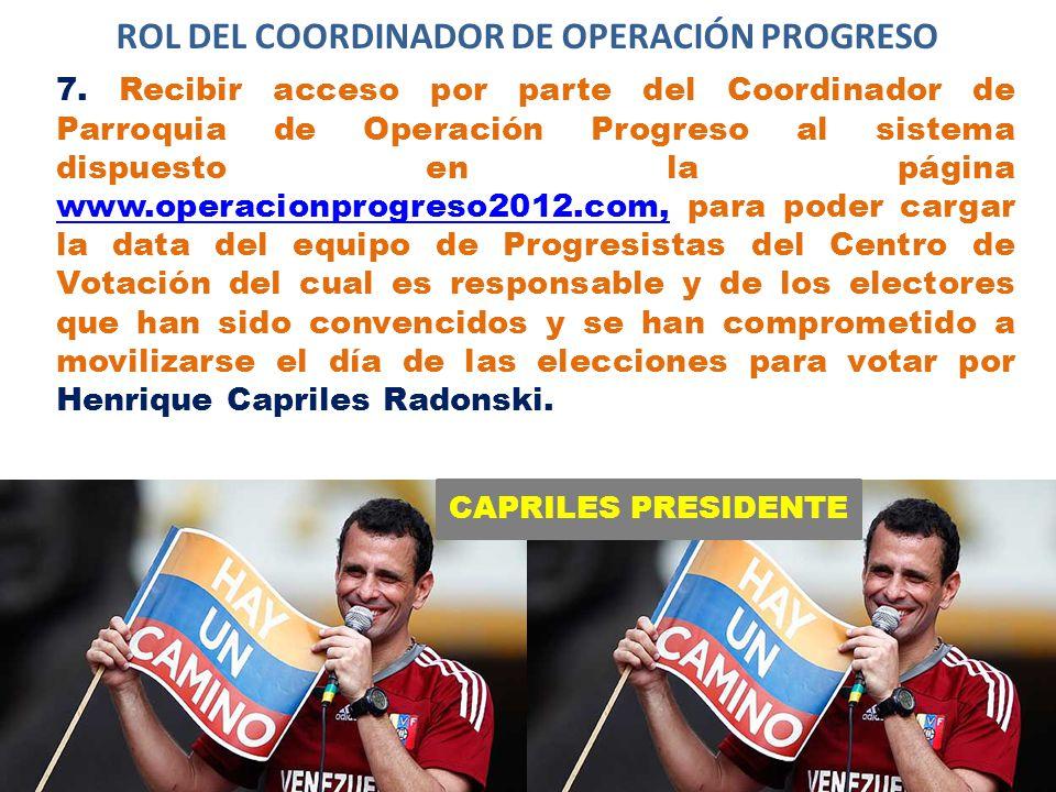 CAPRILES PRESIDENTE ROL DEL COORDINADOR DE OPERACIÓN PROGRESO 7.