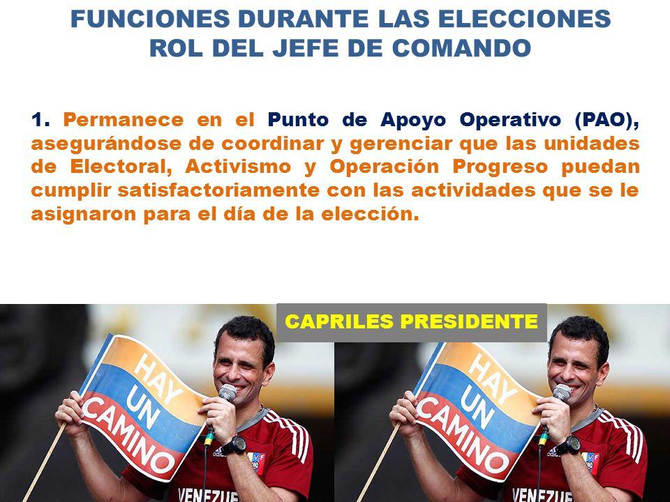 CAPRILES PRESIDENTE FUNCIONES DURANTE LAS ELECCIONES ROL DEL JEFE DE COMANDO 1.