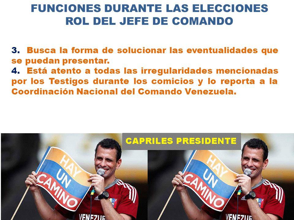 FUNCIONES DURANTE LAS ELECCIONES ROL DEL JEFE DE COMANDO 3.